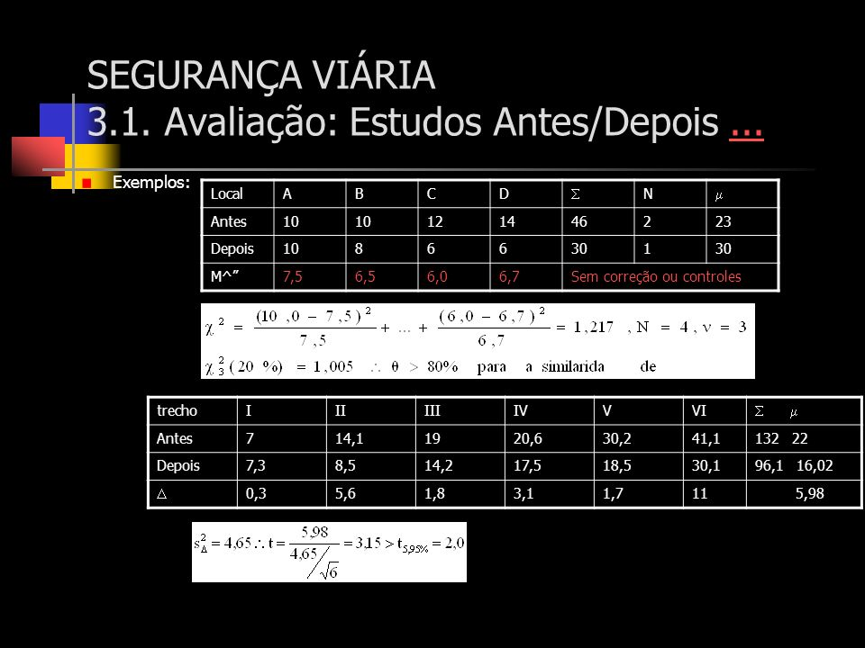 SEGURANÇA VIÁRIA 3.1. Avaliação: Estudos Antes/Depois...... Exemplos: LocalABCD N Antes10 121446223 Depois10866301 M^7,56,56,06,7Sem correção ou contr
