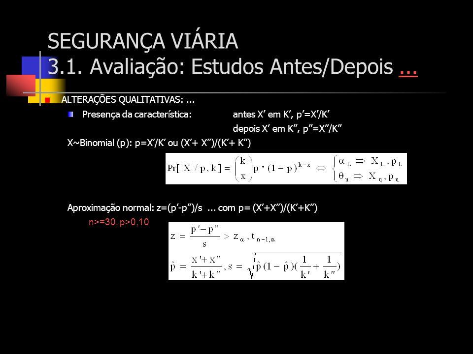 SEGURANÇA VIÁRIA 3.1. Avaliação: Estudos Antes/Depois...... ALTERAÇÕES QUALITATIVAS:... Presença da característica:antes X em K, p=X/K depois X em K,