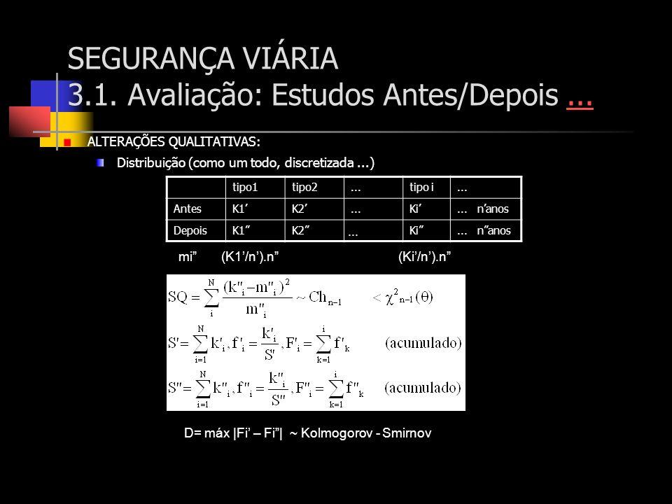 SEGURANÇA VIÁRIA 3.1. Avaliação: Estudos Antes/Depois...... ALTERAÇÕES QUALITATIVAS: Distribuição (como um todo, discretizada...) tipo1tipo2...tipo i.