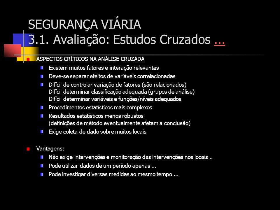 SEGURANÇA VIÁRIA 3.1. Avaliação: Estudos Cruzados...... ASPECTOS CRÍTICOS NA ANÁLISE CRUZADA Existem muitos fatores e interação relevantes Deve-se sep