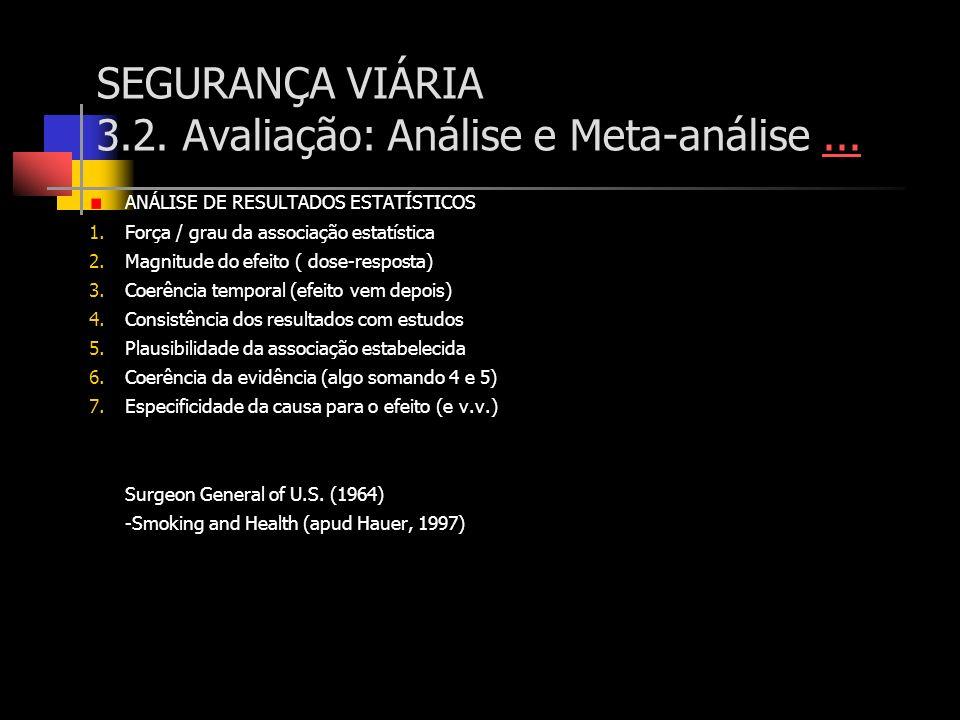 SEGURANÇA VIÁRIA 3.2. Avaliação: Análise e Meta-análise...... ANÁLISE DE RESULTADOS ESTATÍSTICOS 1.Força / grau da associação estatística 2.Magnitude