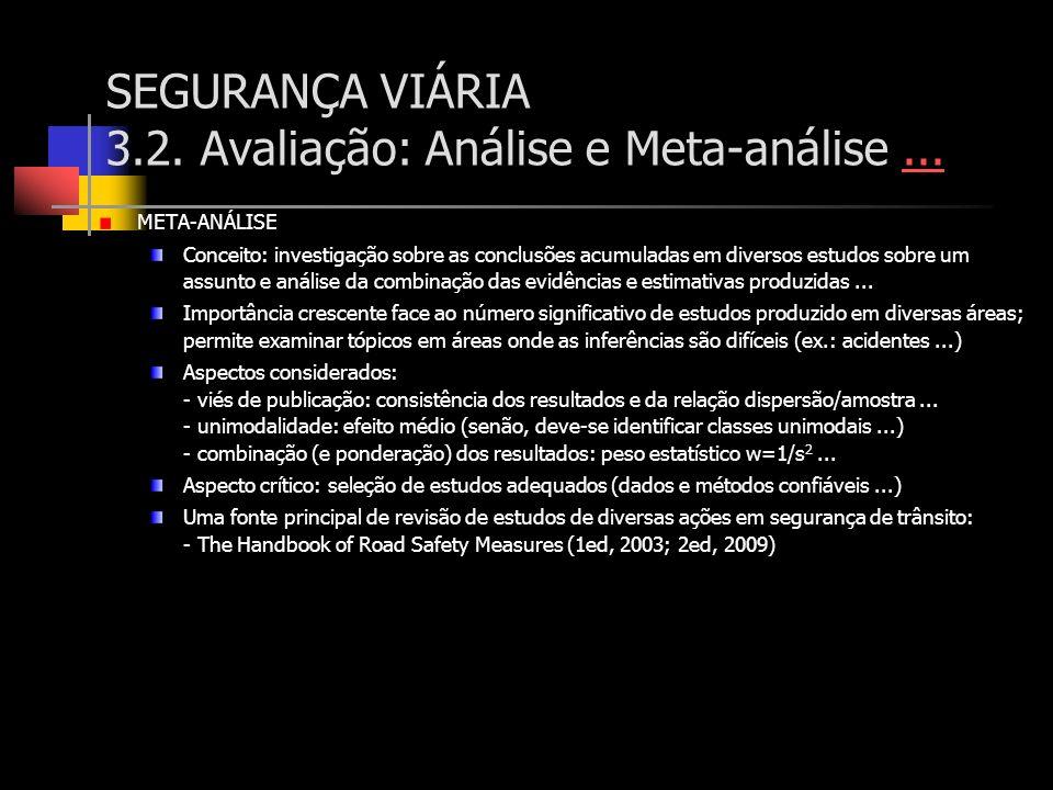 SEGURANÇA VIÁRIA 3.2. Avaliação: Análise e Meta-análise...... META-ANÁLISE Conceito: investigação sobre as conclusões acumuladas em diversos estudos s
