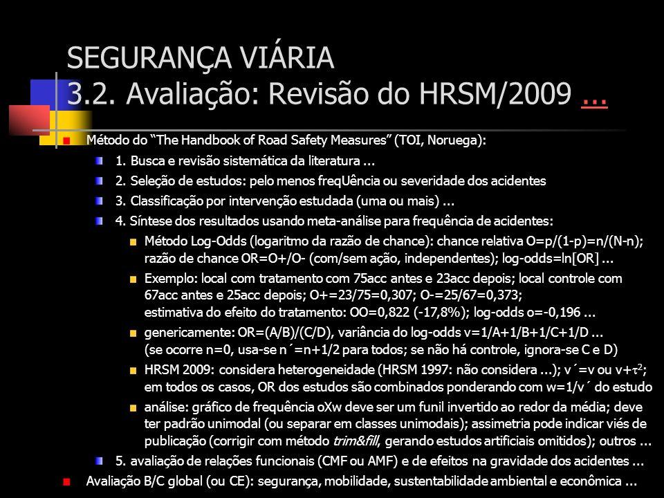 SEGURANÇA VIÁRIA 3.2. Avaliação: Revisão do HRSM/2009...... Método do The Handbook of Road Safety Measures (TOI, Noruega): 1. Busca e revisão sistemát