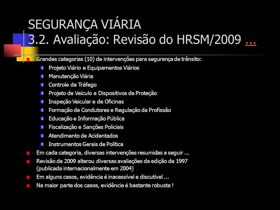SEGURANÇA VIÁRIA 3.2. Avaliação: Revisão do HRSM/2009...... Grandes categorias (10) de intervenções para segurança de trânsito: Projeto Viário e Equip