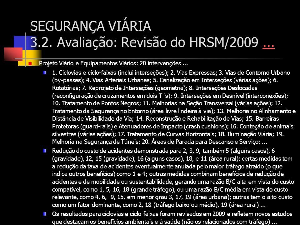 SEGURANÇA VIÁRIA 3.2. Avaliação: Revisão do HRSM/2009...... Projeto Viário e Equipamentos Viários: 20 intervenções... 1. Ciclovias e ciclo-faixas (inc
