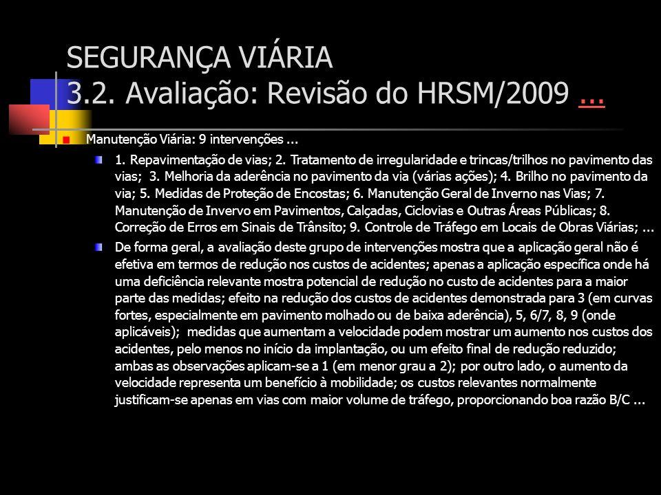 SEGURANÇA VIÁRIA 3.2. Avaliação: Revisão do HRSM/2009...... Manutenção Viária: 9 intervenções... 1. Repavimentação de vias; 2. Tratamento de irregular