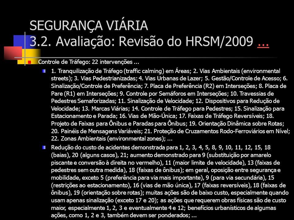 SEGURANÇA VIÁRIA 3.2. Avaliação: Revisão do HRSM/2009...... Controle de Tráfego: 22 intervenções... 1. Tranquilização de Tráfego (traffic calming) em