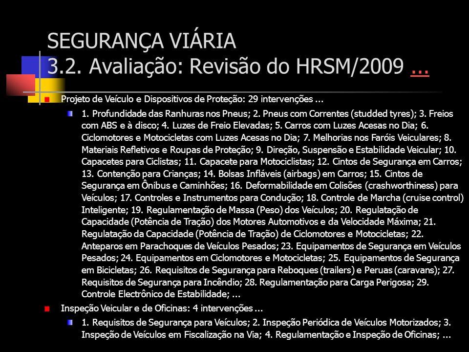 SEGURANÇA VIÁRIA 3.2. Avaliação: Revisão do HRSM/2009...... Projeto de Veículo e Dispositivos de Proteção: 29 intervenções... 1. Profundidade das Ranh