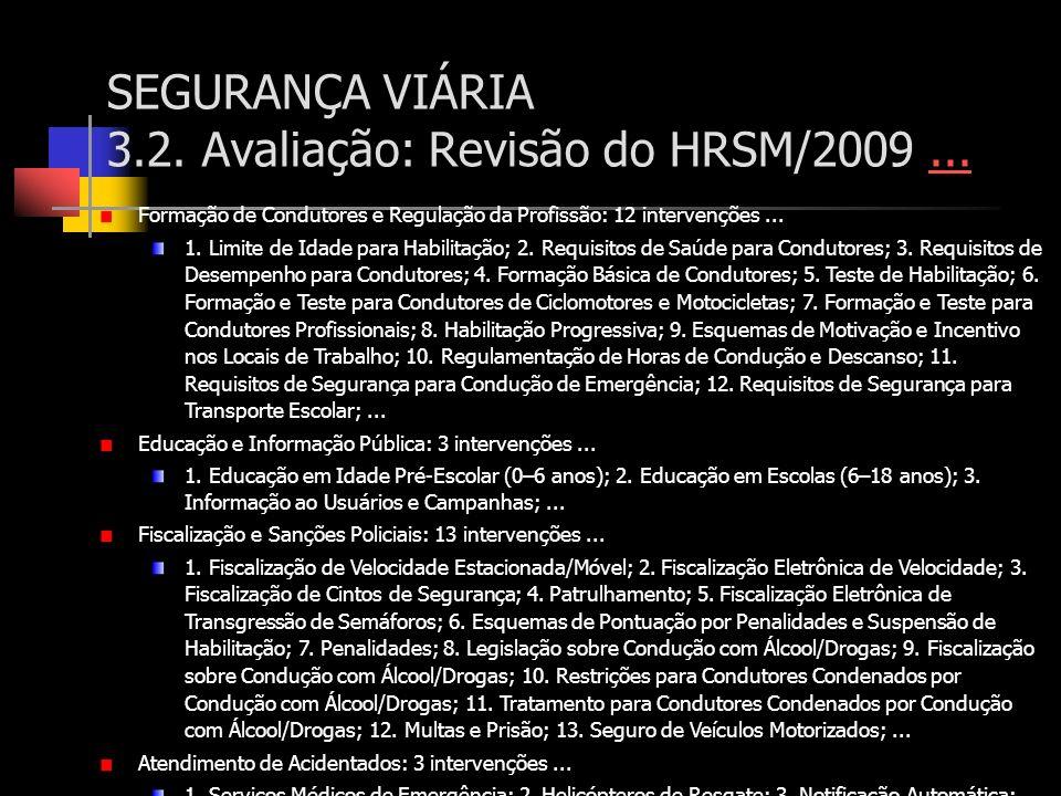 SEGURANÇA VIÁRIA 3.2. Avaliação: Revisão do HRSM/2009...... Formação de Condutores e Regulação da Profissão: 12 intervenções... 1. Limite de Idade par