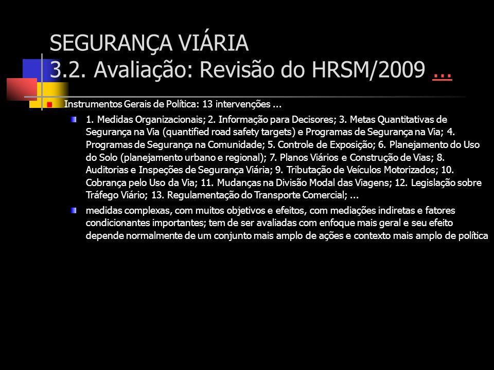 SEGURANÇA VIÁRIA 3.2. Avaliação: Revisão do HRSM/2009...... Instrumentos Gerais de Política: 13 intervenções... 1. Medidas Organizacionais; 2. Informa