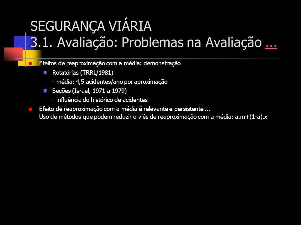 SEGURANÇA VIÁRIA 3.1. Avaliação: Problemas na Avaliação...... Efeitos de reaproximação com a média: demonstração Rotatórias (TRRL/1981) - média: 4,5 a