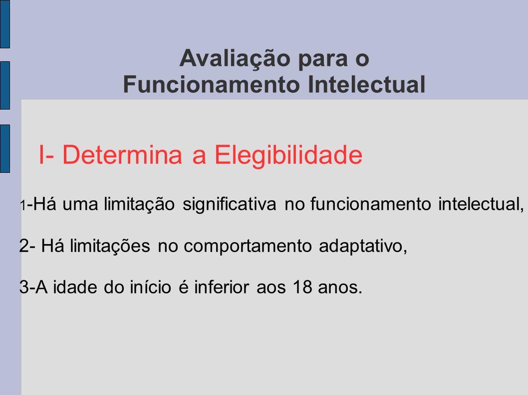 Avaliação para o Funcionamento Intelectual I- Determina a Elegibilidade 1 -Há uma limitação significativa no funcionamento intelectual, 2- Há limitaçõ