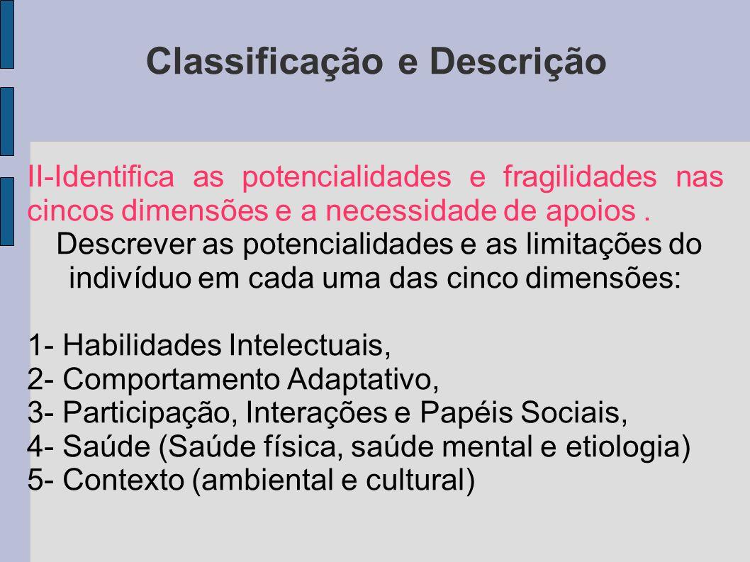 Classificação e Descrição II-Identifica as potencialidades e fragilidades nas cincos dimensões e a necessidade de apoios. Descrever as potencialidades