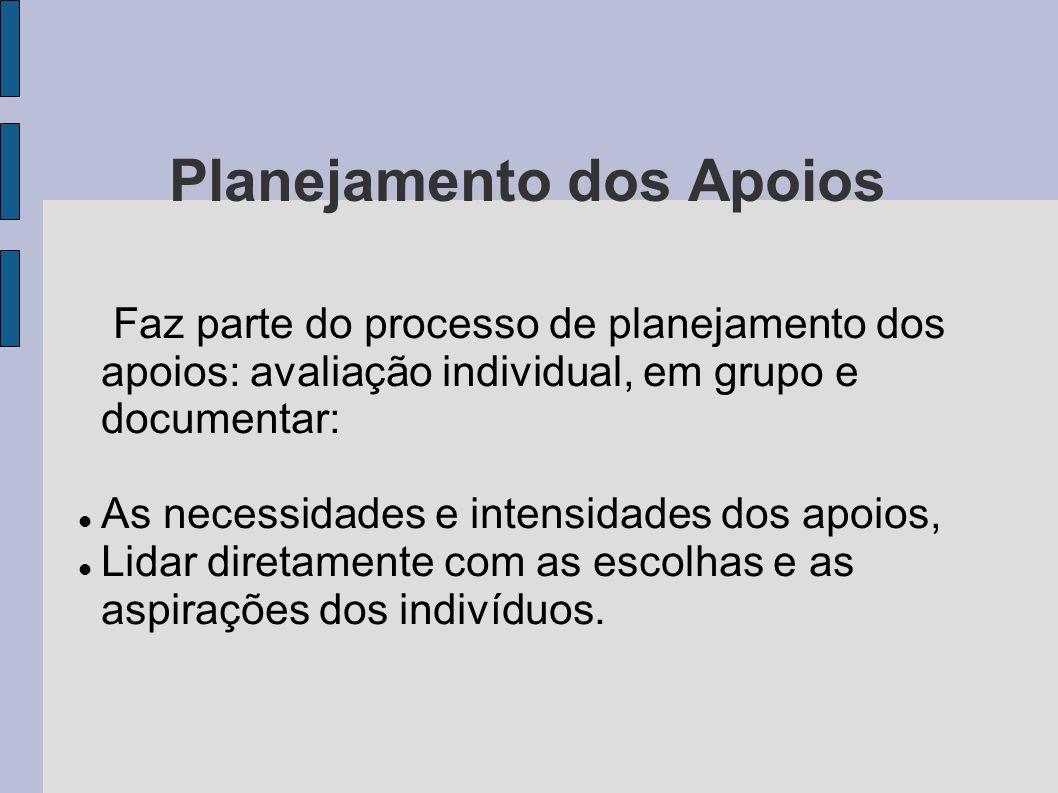 Planejamento dos Apoios Faz parte do processo de planejamento dos apoios: avaliação individual, em grupo e documentar: As necessidades e intensidades