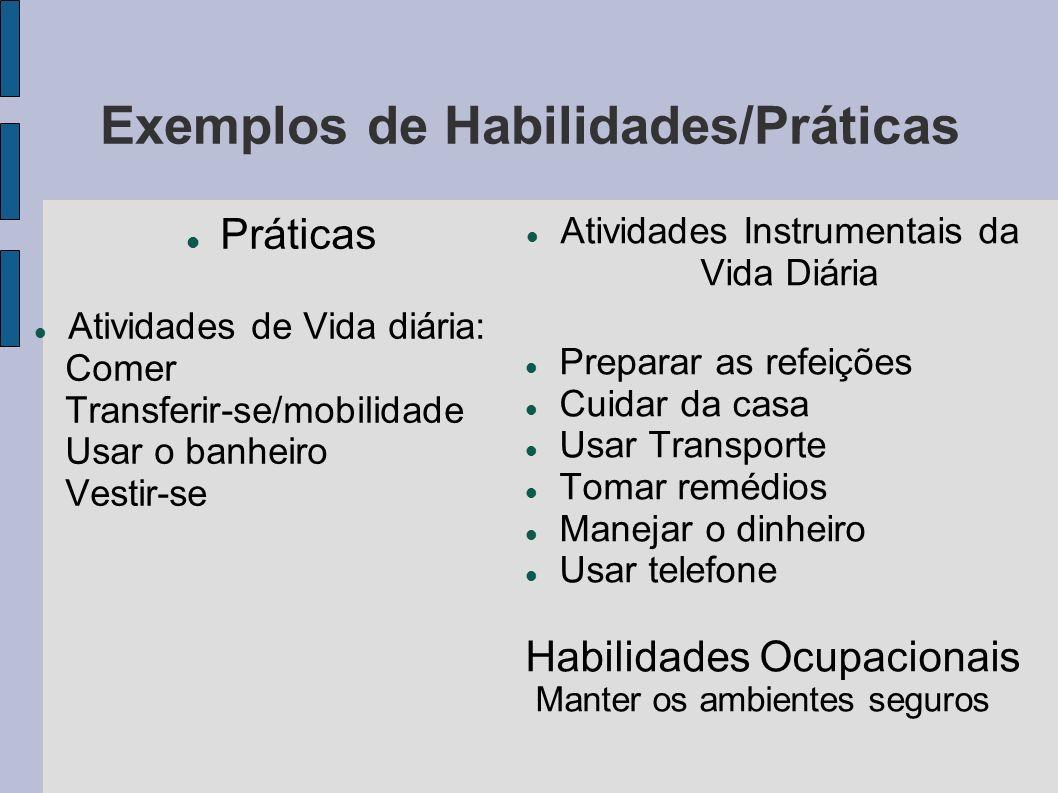 Exemplos de Habilidades/Práticas Práticas Atividades de Vida diária: Comer Transferir-se/mobilidade Usar o banheiro Vestir-se Atividades Instrumentais