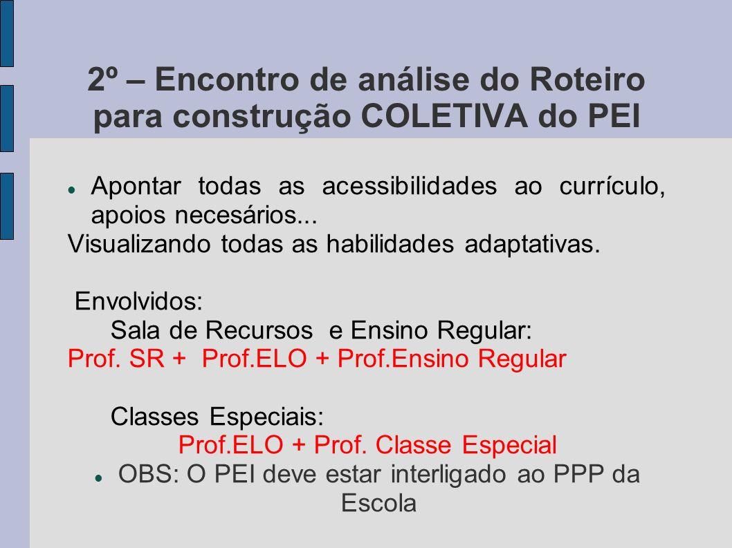 2º – Encontro de análise do Roteiro para construção COLETIVA do PEI Apontar todas as acessibilidades ao currículo, apoios necesários... Visualizando t