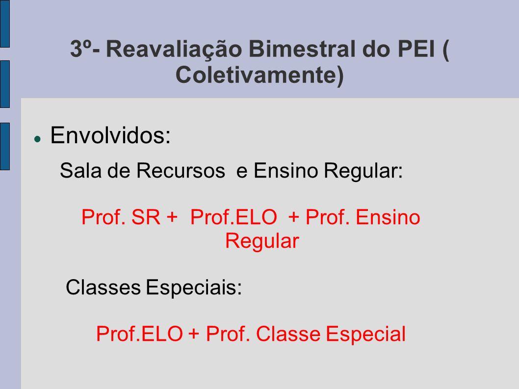 3º- Reavaliação Bimestral do PEI ( Coletivamente) Envolvidos: Sala de Recursos e Ensino Regular: Prof. SR + Prof.ELO + Prof. Ensino Regular Classes Es