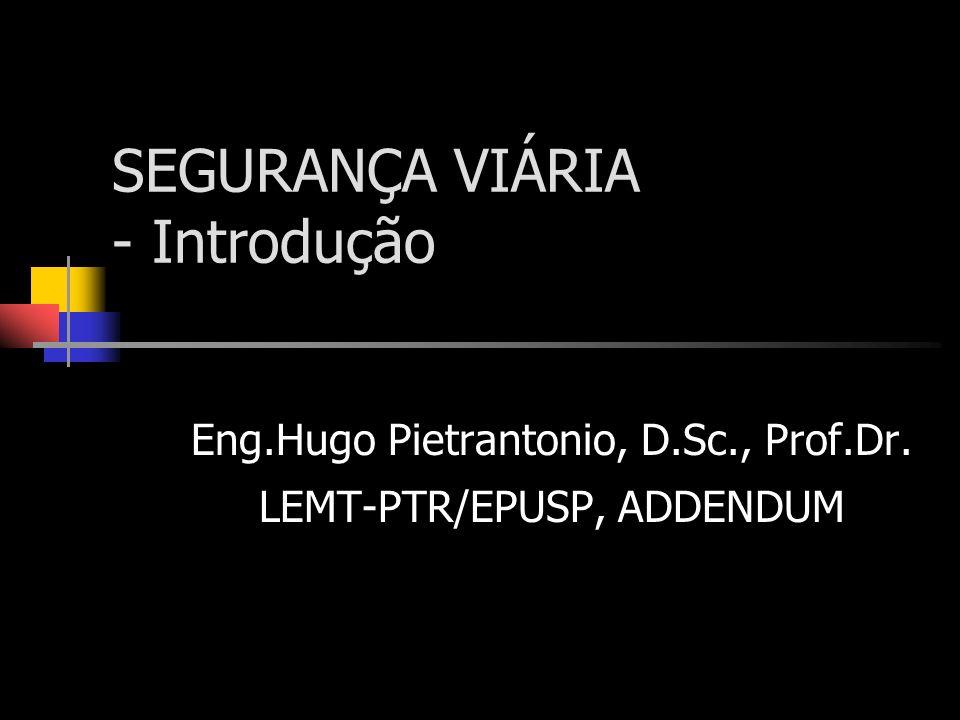 SEGURANÇA VIÁRIA - Introdução Eng.Hugo Pietrantonio, D.Sc., Prof.Dr. LEMT-PTR/EPUSP, ADDENDUM