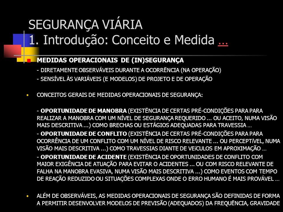 SEGURANÇA VIÁRIA 1. Introdução: Conceito e Medida …… MEDIDAS OPERACIONAIS DE (IN)SEGURANÇA - DIRETAMENTE OBSERVÁVEIS DURANTE A OCORRËNCIA (NA OPERAÇÃO