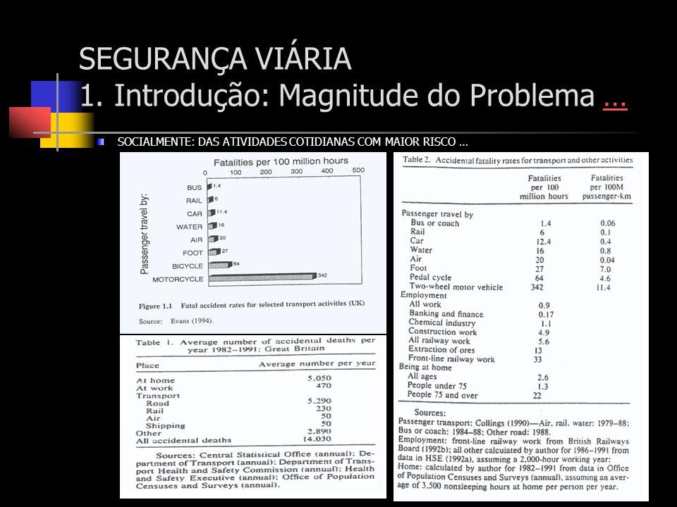 SOCIALMENTE: DAS ATIVIDADES COTIDIANAS COM MAIOR RISCO … SEGURANÇA VIÁRIA 1. Introdução: Magnitude do Problema ……