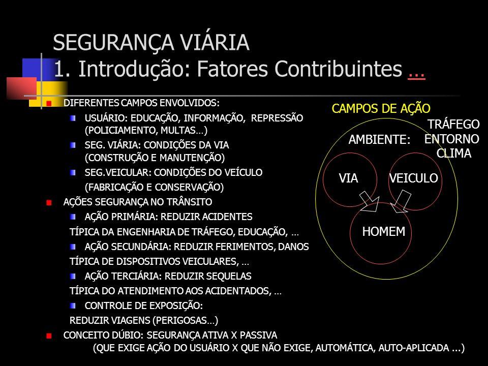 SEGURANÇA VIÁRIA 1. Introdução: Fatores Contribuintes …… DIFERENTES CAMPOS ENVOLVIDOS: USUÁRIO: EDUCAÇÃO, INFORMAÇÃO, REPRESSÃO (POLICIAMENTO, MULTAS…