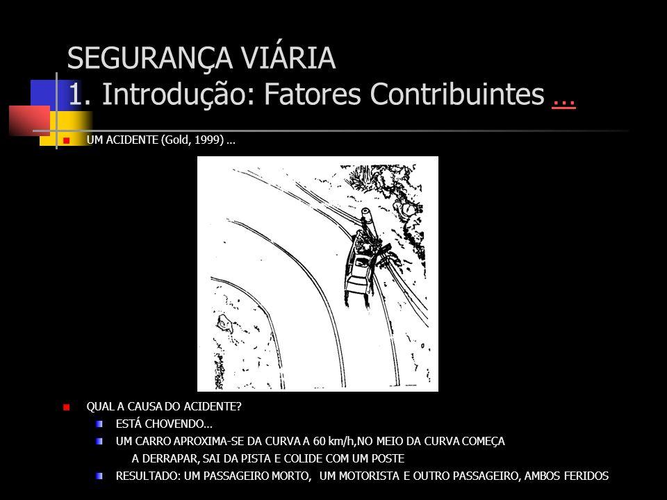 SEGURANÇA VIÁRIA 1. Introdução: Fatores Contribuintes …… UM ACIDENTE (Gold, 1999) … QUAL A CAUSA DO ACIDENTE? ESTÁ CHOVENDO… UM CARRO APROXIMA-SE DA C