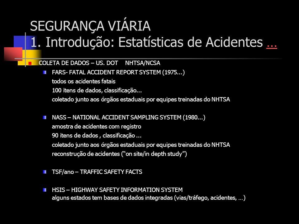 SEGURANÇA VIÁRIA 1. Introdução: Estatísticas de Acidentes …… COLETA DE DADOS – US. DOT NHTSA/NCSA FARS- FATAL ACCIDENT REPORT SYSTEM (1975...) todos o