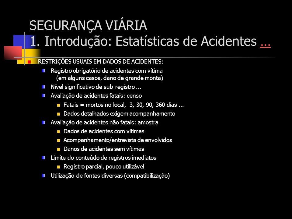 SEGURANÇA VIÁRIA 1. Introdução: Estatísticas de Acidentes …… RESTRIÇÕES USUAIS EM DADOS DE ACIDENTES: Registro obrigatório de acidentes com vítima (em