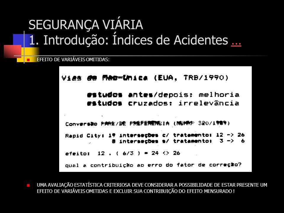 SEGURANÇA VIÁRIA 1. Introdução: Índices de Acidentes …… EFEITO DE VARIÁVEIS OMITIDAS: UMA AVALIAÇÃO ESTATÍSTICA CRITERIOSA DEVE CONSIDERAR A POSSIBILI