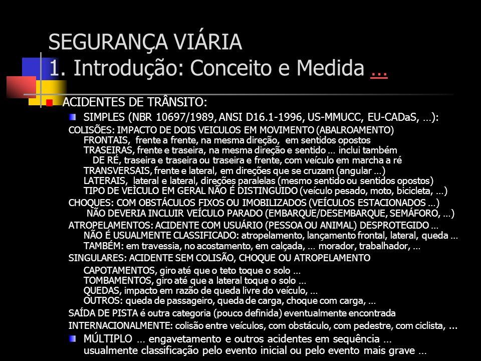 SEGURANÇA VIÁRIA 1. Introdução: Conceito e Medida …… ACIDENTES DE TRÂNSITO: SIMPLES (NBR 10697/1989, ANSI D16.1-1996, US-MMUCC, EU-CADaS, …): COLISÕES