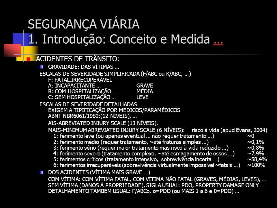 SEGURANÇA VIÁRIA 1. Introdução: Conceito e Medida …… ACIDENTES DE TRÂNSITO: GRAVIDADE: DAS VÍTIMAS … ESCALAS DE SEVERIDADE SIMPLIFICADA (F/ABC ou K/AB