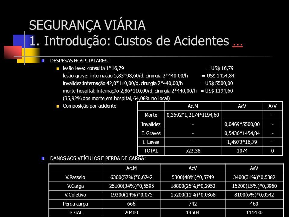 SEGURANÇA VIÁRIA 1. Introdução: Custos de Acidentes …… DESPESAS HOSPITALARES: lesão leve: consulta 1*16,79 = US$ 16,79 lesão grave: internação 5,83*98