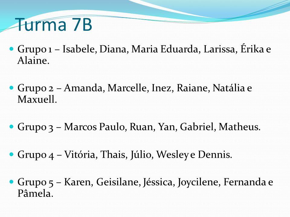 Turma 7B Grupo 1 – Isabele, Diana, Maria Eduarda, Larissa, Érika e Alaine.