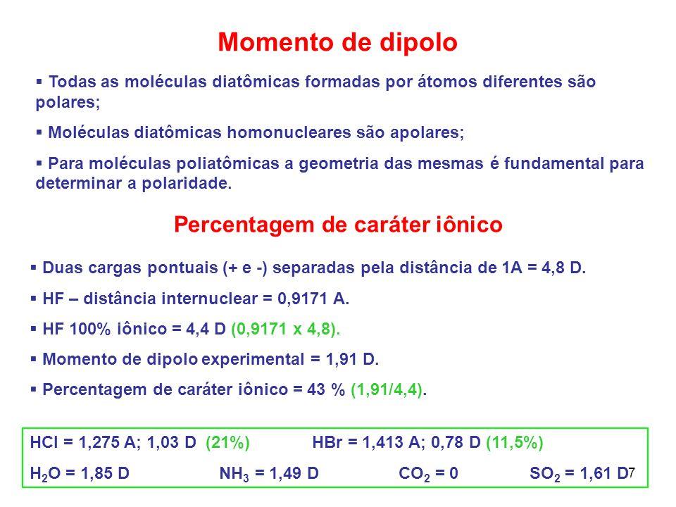 7 Momento de dipolo Todas as moléculas diatômicas formadas por átomos diferentes são polares; Moléculas diatômicas homonucleares são apolares; Para mo