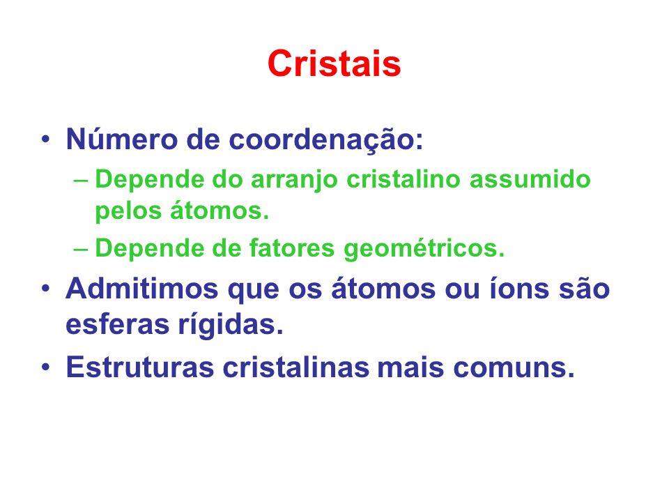 Cristais Número de coordenação: –Depende do arranjo cristalino assumido pelos átomos. –Depende de fatores geométricos. Admitimos que os átomos ou íons