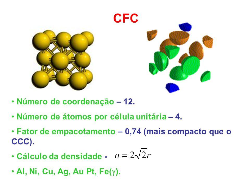 CFC Número de coordenação – 12. Número de átomos por célula unitária – 4. Fator de empacotamento – 0,74 (mais compacto que o CCC). Cálculo da densidad