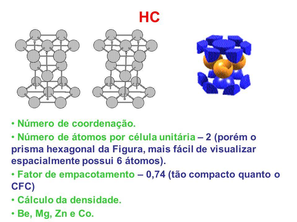 HC Número de coordenação. Número de átomos por célula unitária – 2 (porém o prisma hexagonal da Figura, mais fácil de visualizar espacialmente possui