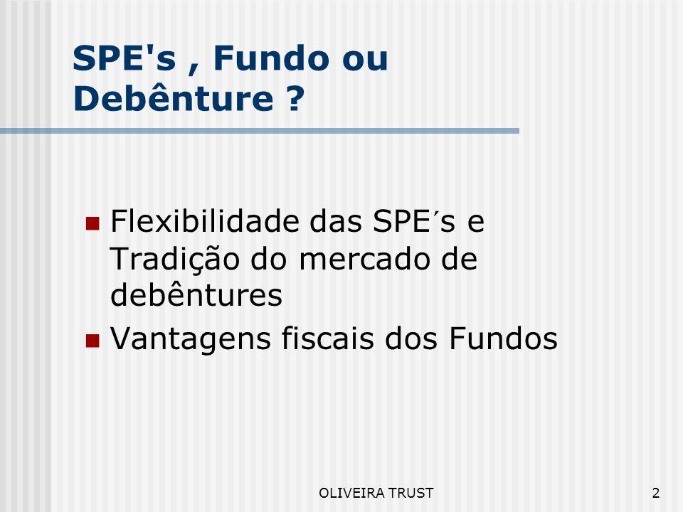 2 SPE s, Fundo ou Debênture .