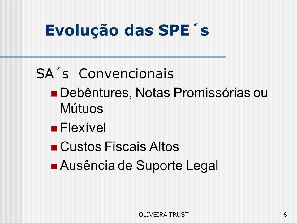 OLIVEIRA TRUST5 Tipos de Operações Estruturas Mistas com utilização conjunta de: Cessões de Recebíveis Imóveis e Outras Garantias Adicionais Covenants