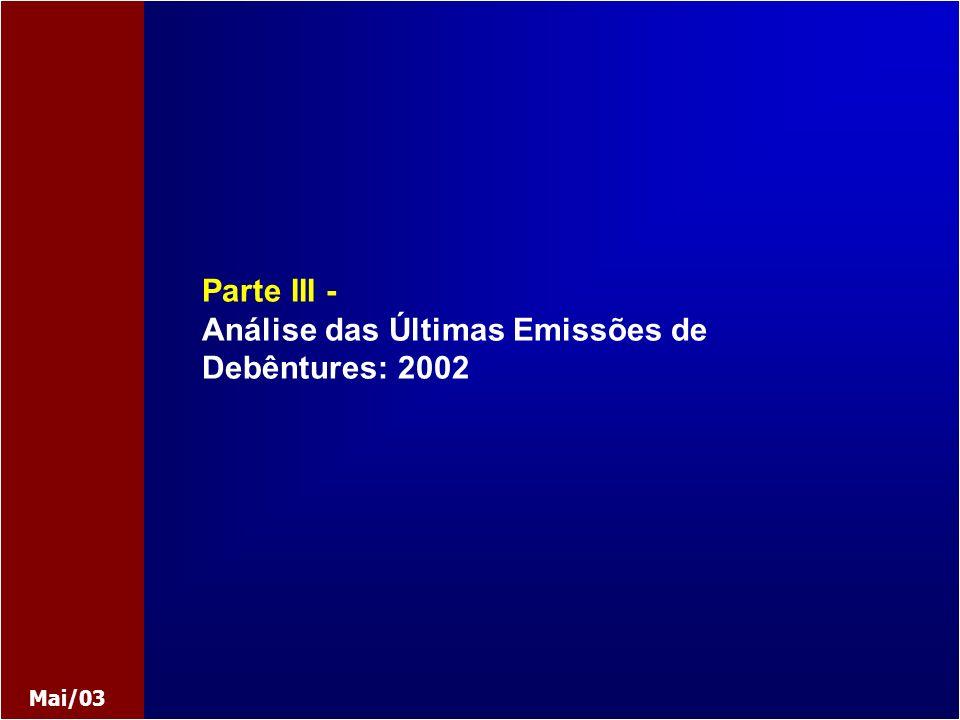 Parte III - Análise das Últimas Emissões de Debêntures: 2002 Mai/03