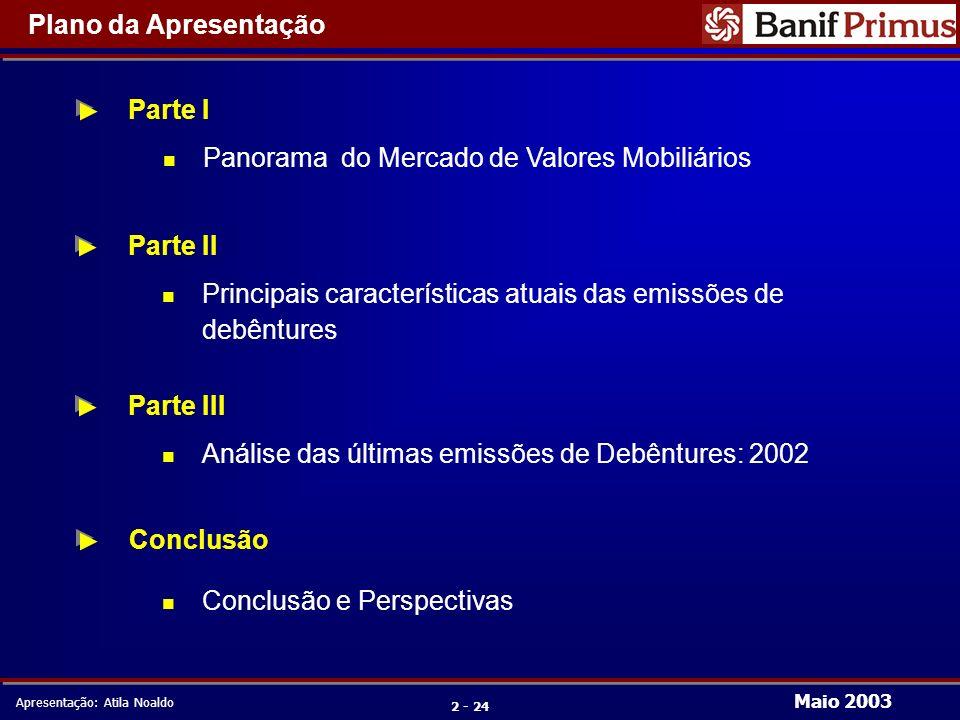 Maio 2003 Apresentação: Atila Noaldo 2 - 24 Plano da Apresentação Parte I n Panorama do Mercado de Valores Mobiliários n Conclusão e Perspectivas Conclusão Parte II Parte III n Principais características atuais das emissões de debêntures n Análise das últimas emissões de Debêntures: 2002