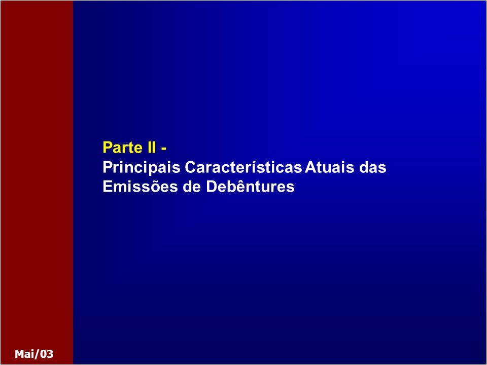 Maio 2003 Apresentação: Atila Noaldo 8 - 24 Título de Crédito Fração de Mútuo Valor Mobiliário Natureza do Título Flexibilidade Lei 6.404/76 Lei 9.457/97 Lei 10.303/01 Legislação Adequação Eficiência como Instrumento de Intermediação Financeira Utilização Funding Reestruturação Privatização Securitização Projetos Considerações sobre as Debêntures Parte II - Debêntures: Características Atuais LSA: Alterações ART.: 52, 54, 59, 62, 63, 68 DC.