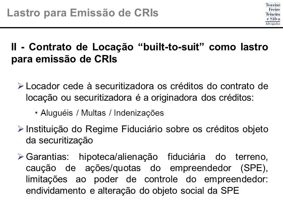 II - Contrato de Locação built-to-suit como lastro para emissão de CRIs Locador cede à securitizadora os créditos do contrato de locação ou securitiza