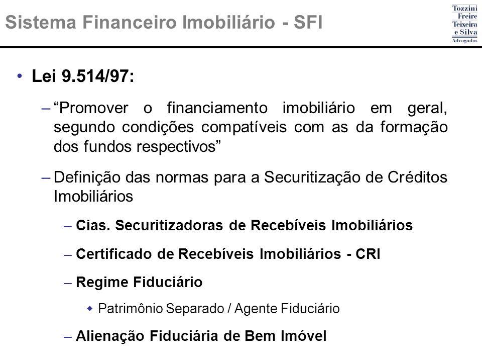 Sistema Financeiro Imobiliário - SFI Lei 9.514/97: –Promover o financiamento imobiliário em geral, segundo condições compatíveis com as da formação do