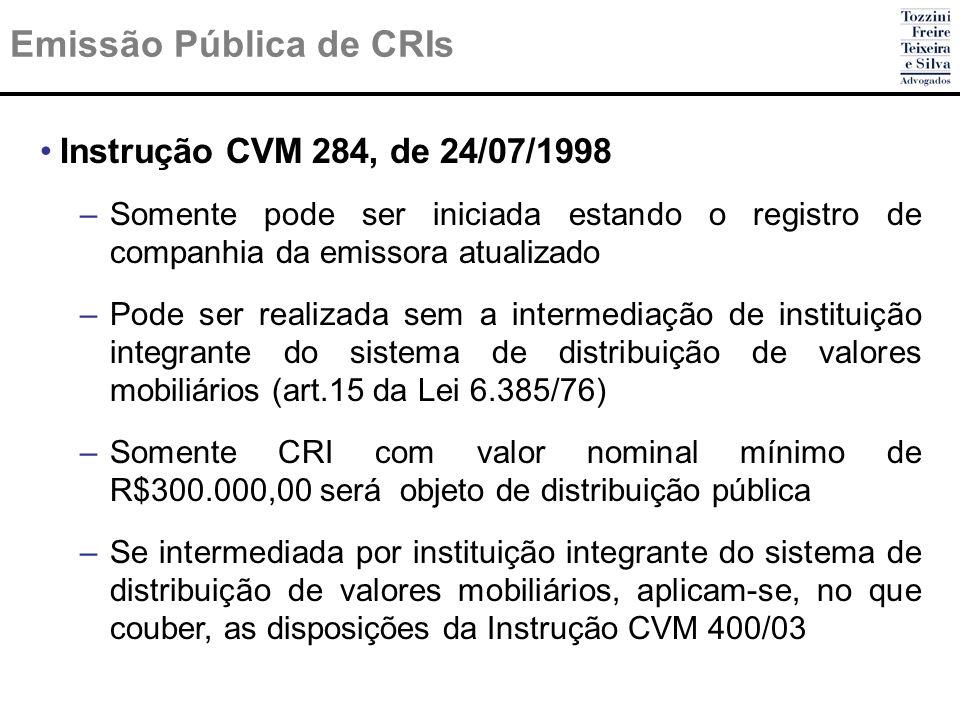 Emissão Pública de CRIs Instrução CVM 284, de 24/07/1998 –Somente pode ser iniciada estando o registro de companhia da emissora atualizado –Pode ser r