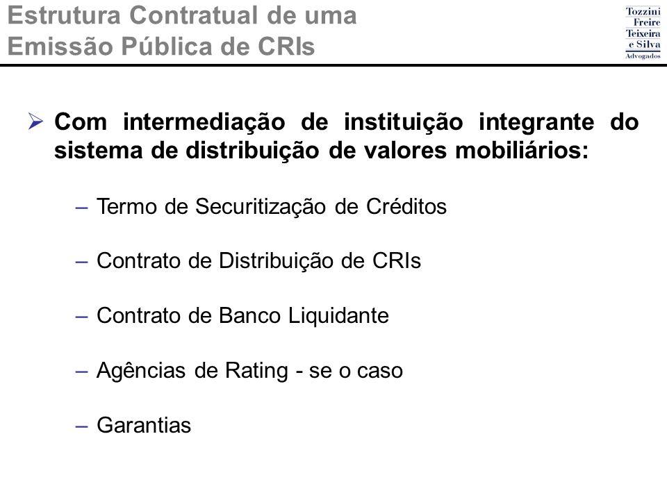 Estrutura Contratual de uma Emissão Pública de CRIs Com intermediação de instituição integrante do sistema de distribuição de valores mobiliários: –Te