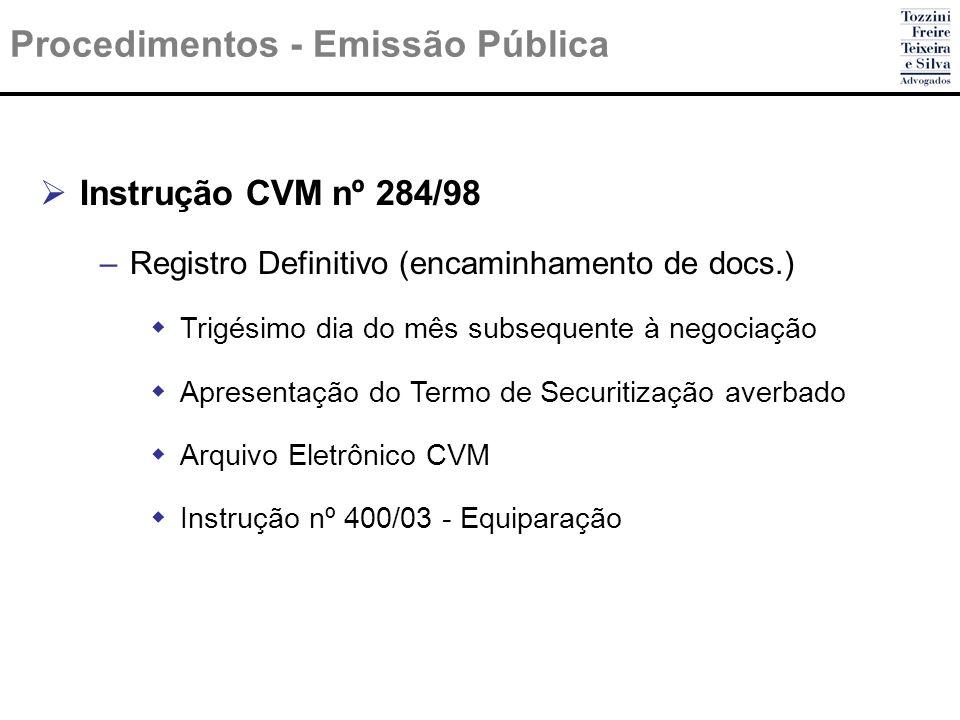 Procedimentos - Emissão Pública Instrução CVM nº 284/98 –Registro Definitivo (encaminhamento de docs.) Trigésimo dia do mês subsequente à negociação A