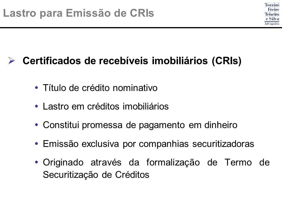 Lastro para Emissão de CRIs Certificados de recebíveis imobiliários (CRIs) Título de crédito nominativo Lastro em créditos imobiliários Constitui prom