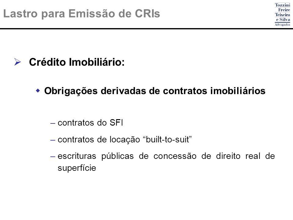 Lastro para Emissão de CRIs Crédito Imobiliário: Obrigações derivadas de contratos imobiliários –contratos do SFI –contratos de locação built-to-suit