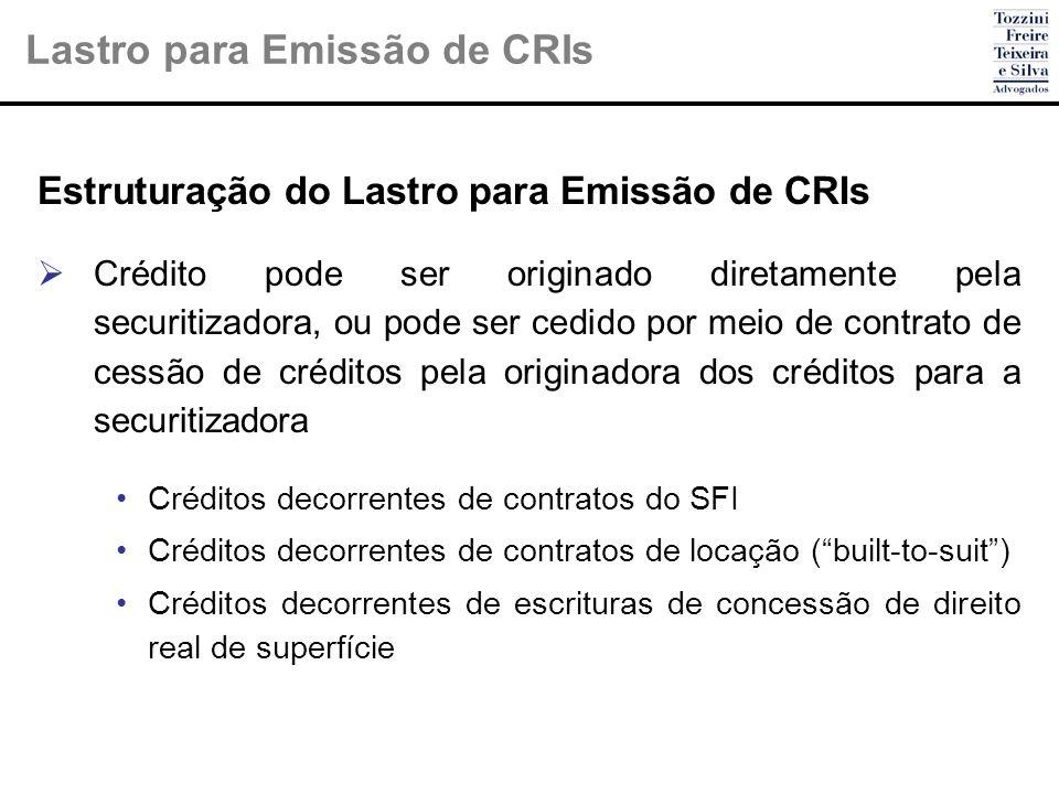 Estruturação do Lastro para Emissão de CRIs Crédito pode ser originado diretamente pela securitizadora, ou pode ser cedido por meio de contrato de ces